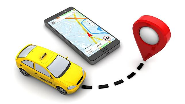 3d illustration of taxi navigation concept, over white background